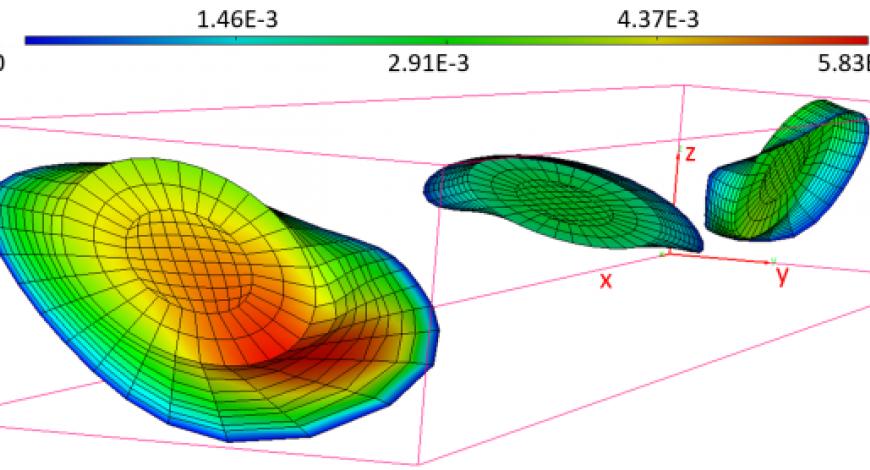 Forme de trois fissures après propagation (ouverture de fissure en mm).