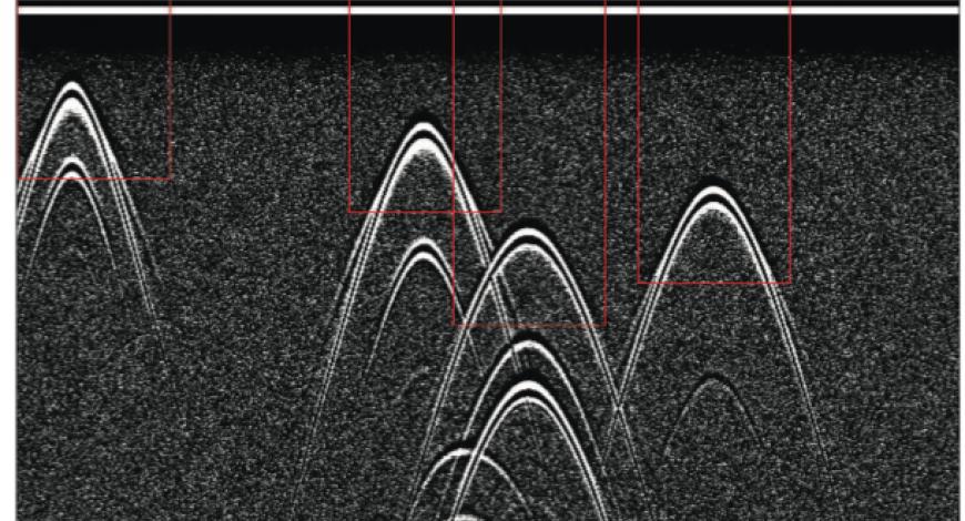 Détection automatique des hyperboles avec le modèle Yolo-4, sur des B-scans synthétiques à 900 MHz.
