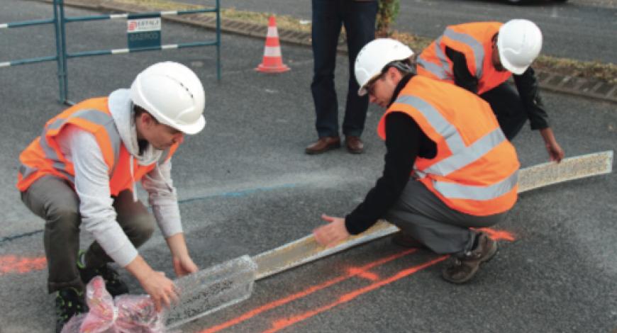 Solution InTrack en cours d'installation sur le site expérimental d'Eiffage Route