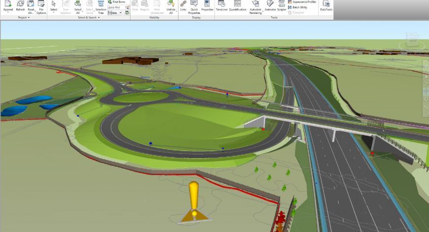 Aperçu d'une maquette numérique d'infrastructures routières.