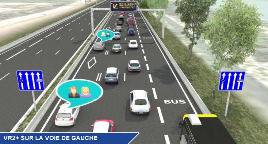 Le projet de voie réservée covoiturage AREA sur l'A48 à Grenoble.
