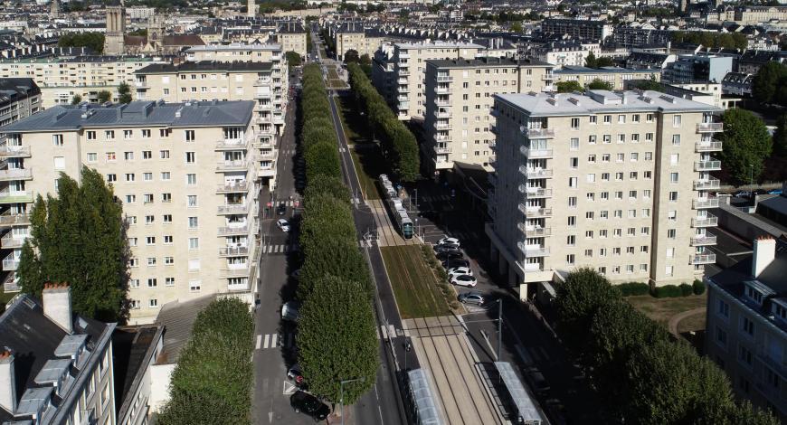 Aménagement du tramway de Caen en 2019.