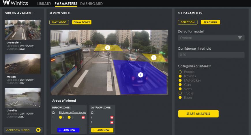Plate-forme d'analyse automatique de vidéo Wintics.