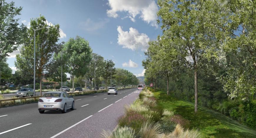 À l'horizon 2030, l'autoroute A6/A7, ici à hauteur de Pierre-Bénite, aura laissé la place à un boulevard urbain.