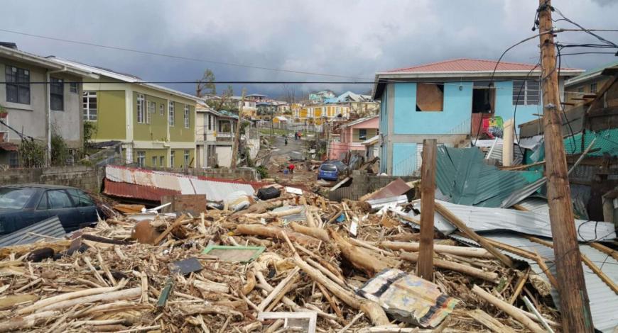 Dommages causés par l'ouragan Maria à Roseau, Dominique, le 20 septembre 2017.