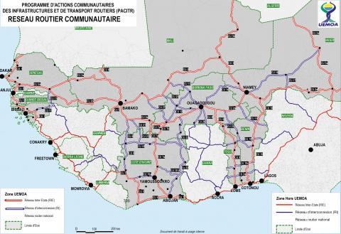 L'UEMOA et son réseau de routes communautaires.