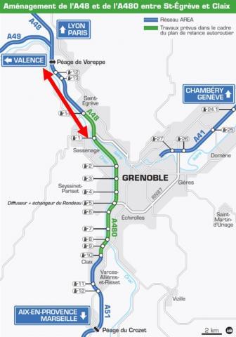 Contexte grenoblois - Localisation des voies réservées AREA existante et projetée sur l'A48.