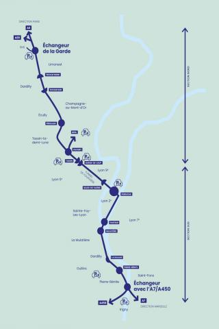 Périmètre du projet de requalification de l'autoroute urbaine A6-A7 en boulevard urbain.