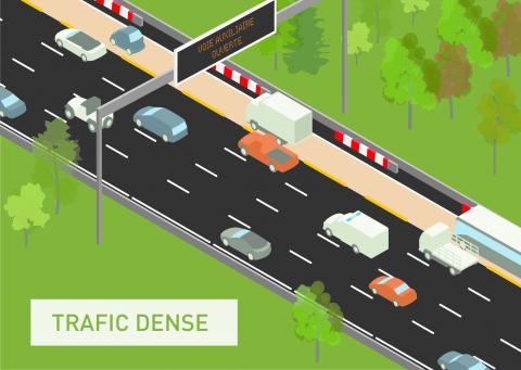 Sur le tronc commun A4-A86, lors de la formation d'une congestion, la BAU devient circulable.