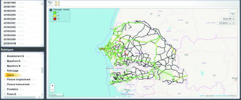 Représentation de la gravité du faïençage sur les routes du Sénégal (y compris routes non communautaires) dans L2R Base.