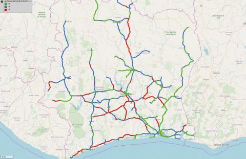 Les notes d'état du réseau revêtu de Côte d'Ivoire (y compris routes non communautaires) calculées dans L2R Programme.