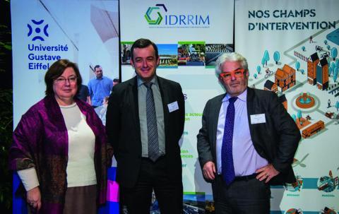 Les représentants des organismes co-organisateurs des JTR (de gauche à droite) : Hélène Jacquot-Guimbal (Université Gustave Eiffel), David Zambon (Idrrim) et Pascal Berteaud (Cerema).