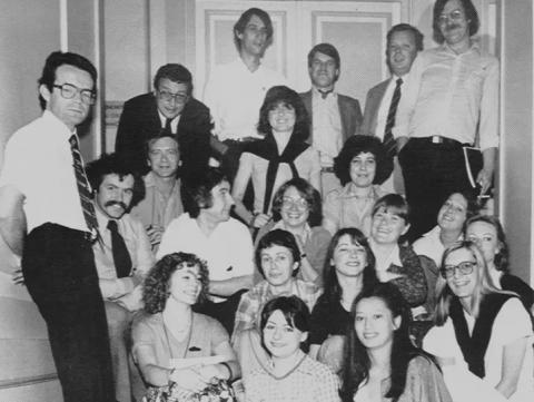Équipe de l'agence Burson-Marsteller en 1979 (Françoise est au centre du 3e rang en partant du bas).