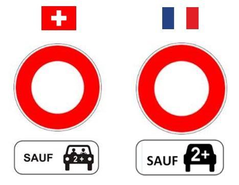 Signalisation suisse et française pour la voie de covoiturage.