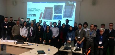 Participants à l'infrakhaton organisé par l'Ifsttar lors de la « training week » de janvier 2019 du projet européen Smarti réunissant des jeunes chercheurs de l'Europe entière.