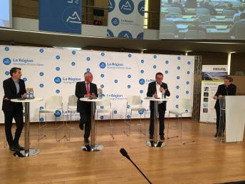 Nicolas Mallot, directeur général adjoint du Sytral, Paul Vidal, président du syndicat départemental d'énergie du Rhône, et Bernard Perazio, vice-président chargé des routes au conseil départemental de l'Isère.