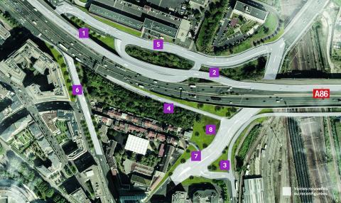 Les travaux sur l'échangeur de Pleyel ont pour principal objectif d'améliorer la desserte du secteur en complétant les échanges avec l'autoroute A86 depuis et vers l'Est, suite à la fermeture de ces mouvements au niveau de la porte de Paris.