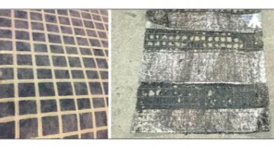 De gauche à droite : • grille neuve, • grille récupérée de la planche expérimentale, avec les protections.