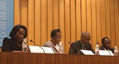 De gauche à droite : Rachel Annick Ogoula Akiko, Denise Houphouët-Boigny, Firmin Matoko et Martiale Zebaze-Kana.