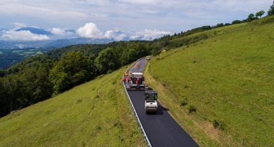 Vue d'ensemble du chantier de la route du Salève.