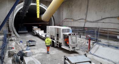 Travaux de la ligne 14, lot GC04 pour le projet du Grand Paris Express.