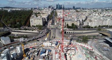 Chantier de la future gare de Porte Maillot. du projet Eole
