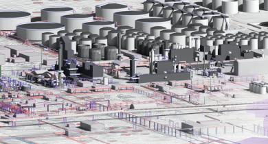 Déconstruction et dépollution de la raffinerie de Dunkerque grâce au BIM.
