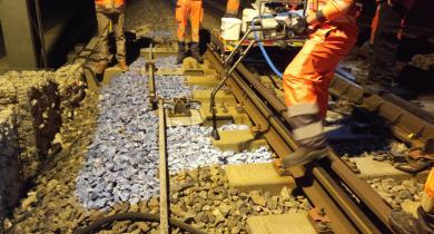 Application du liant Aqua-Rail sur la ligne LGV Sud Est Européen.