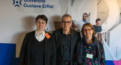 L'équipe de l'université Gustave Eiffel en charge de l'organisation des JTR 2021. De gauche à droite : Véronique Cerezo, Ferhat Hammoum, Marie-Line Gallenne.