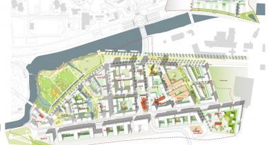 Carte générale du projet de la ZAC Baud-Chardonnet à Rennes.