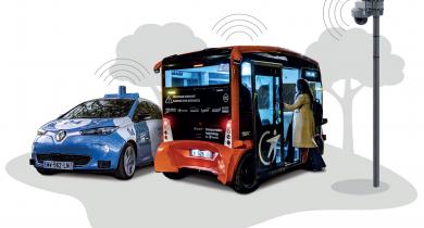 Les véhicules autonomes et connectés du projet Paris-Saclay Autonomous Lab.