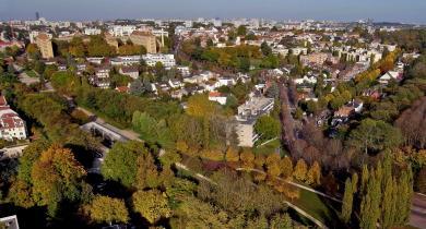 Vue aérienne de la coulée verte à Sceaux.