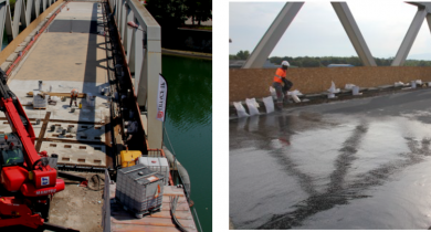 Interventions sur le pont d'Illzach entre 2011 et 2016.
