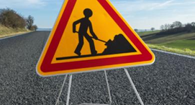 Signalisation temporaire de chantier.