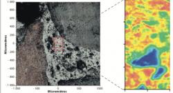 Analyse locale par imagerie infrarouge du mastic intergranulaire (gauche) d'un enrobé incorporant 40 % de recyclés et identification spatiale (droite) des zones de granulat (bleu), de bitume non oxydé (vert) et oxydé (rouge).